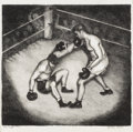 Texas:Early Texas Art - Regionalists, LORITA GILES (1893-1992). The Fight (First Round), 1945.Lithograph. 9 1/2in. x 10in.. Signed lower right. Titled lower ...