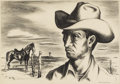 Texas:Early Texas Art - Drawings & Prints, JERRY BYWATERS (1906-1989). Ranch Hand, 1938. Lithograph. 91/2in. x 14in.. Signed lower right. Ranch Hand was sel...