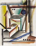 Texas:Early Texas Art - Regionalists, COREEN MARY SPELLMAN (1905-1978). Abstract Composition July21, 1933. Watercolor (double sided). 24in. x 19in.. Unsigned...