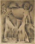 Texas:Early Texas Art - Regionalists, HELEN SPELLMAN (1915-2002). Untitled. Etching. 10in. x 8in.. Signedlower right. A fine art-deco inspired print from Coree...