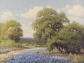 Texas:Early Texas Art - Impressionists, PALMER CHRISMAN (1913-1984). Untitled Bluebonnet Landscape. Oil oncanvas. 18in. x 24in.. Signed lower left. Label verso:...