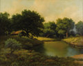Texas:Early Texas Art - Impressionists, R. D. ENRIGHT (b. 1921). Untitled Cabin and Stream. Oil on canvas.24in. x 30in.. Signed lower left. R. D. Enright came to...