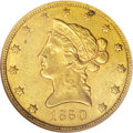 Liberty Eagles: , 1850 $10 Small Date AU58 NGC. The Large Date variety is the mostoften seen of this date, and the Small Date variety is a m...