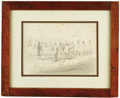 Military & Patriotic:Civil War, A Pencil Drawing, Circa 1830's Depicting an Overseer Lecturing Slaves This fascinating scene of an overseer lecturing a line...