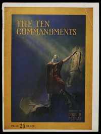 The Ten Commandments (Paramount, 1923). Program (Multiple Pages). Biblical Drama. Directed by Cecil B. DeMille. Starring...