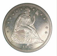 1859 $1 PR 63 Obverse Planchet Flaw. Many of the 800 proof silver dollars that the Philadelphia Mint coined this year we...