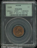 Canadian: , 1920 1C Canada Small Cent MS 64 Red and Brown PCGS. Very smoot...