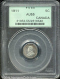 Canadian: , 1911 5C Canada AU 55 PCGS. Just a hint of wear shows on this m...