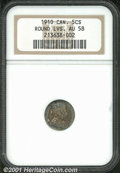 Canadian: , 1910 5C Canada Five Cents AU 58 NGC. Round Leaves. Very lightl...