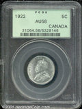Canadian: , 1922 5C Canada AU 58 PCGS. Just a hint of rubbing shows on the...