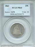 Proof Seated Quarters: , 1863 25C
