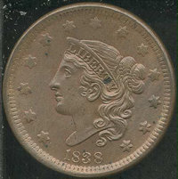 1838 1C MS 64 Brown. N-6, R.1. Medium brown overall with a faint suggestion of underlying, original red. Struck from mis...