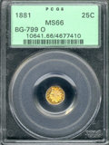 California Fractional Gold: , 1881 25C BG-799 O