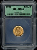 Additional Coins: , 1902 $2 1/2 Quarter Eagle MS 64 ICG. The effulgent yellow-gold...