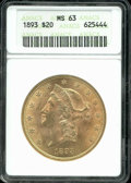 1893 $20 MS 63 ANACS. A typical number of surface marks are seen on the obverse, the reverse is at least a full point or...