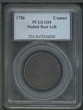 1786 Connecticut Cent Good 4 PCGS. Mailed Bust Left. Well centered, the fields are dark brown while the devices show muc...