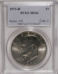 Eisenhower Dollars: , 1971-D $1 MS66 PCGS. PCGS Population (685/15). NGC Census: (498/36). Mintage: 68,587,424. Numismedia Wsl. Price for NGC/PCG...