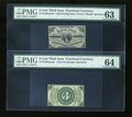Fractional Currency:Third Issue, Fr. 1226SP 3c Third Issue Narrow Margin Pair PMG Choice Uncirculated 63 & 64.... (Total: 2 notes)