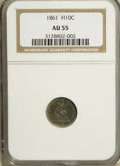 Seated Half Dimes: , 1861 H10C AU55 NGC. NGC Census: (18/419). PCGS Population (24/331).Mintage: 3,361,000. Numismedia Wsl. Price for NGC/PCGS ...