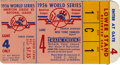 Baseball Collectibles:Tickets, 1956 World Series Game 4 Ticket Stub. A dramatic postseason affair,the 1956 World Series pitted the New York Yankees again...