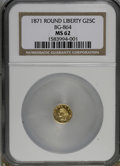 California Fractional Gold: , 1871 25C Liberty Round 25 Cents, BG-864, R.5, MS62 NGC. NGC Census:(2/2). PCGS Population (10/24). (#10725)...