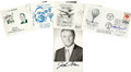 Transportation:Aviation, Seven Aviation and Space Signatures on Four Postal Covers plus OneSigned Photo,... (Total: 5 Items)
