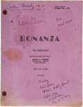 "Movie/TV Memorabilia:Autographs and Signed Items, Buddy Ebsen Script from Bonanza. Final Draft script, datedOctober 11, 1971, for the Bonanza episode ""The Saddle...(Total: 1 Item)"