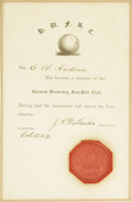 Football Collectibles:Others, 1875 Harvard University Football Club Membership Certificate. Seminal document is among the very earliest American football...