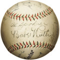 Autographs:Baseballs, Circa 1929 Babe Ruth, Lou Gehrig & G.C. Alexander Signed Baseball. We can't quite solve the riddle of this baseball, as our...