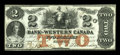 Canadian Currency: , Clifton, CW- The Bank of Western Canada $2 Sept. 20, 1859 Ch. #795-10-08. ...