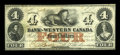 Canadian Currency: , Clifton, CW- The Bank of Western Canada $4 Sept. 20, 1859 Ch. #795-10-12. ...