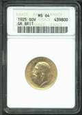 Binder Lots--Dimes: , Great Britain 1925 Sovereign MS 64 ANACS. KM-820. Bright, satin...