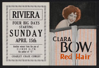 "Red Hair (Paramount, 1928). Herald (Folded: 4.5"" X 6"", Unfolded: 6"" X 9""). Comedy. Starring Clara Bo..."
