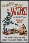 "Movie Posters:Adventure, Watusi (MGM, 1959). One Sheet (27"" X 41""). Adventure. StarringGeorge Montgomery, Taina Elg and David Farrar. Directed by Ku..."