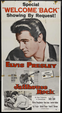 "Jailhouse Rock (MGM, R-1960). Three Sheet (41"" X 81""). Elvis Presley Rock and Roll Musical. Starring Elvis Pre..."