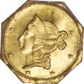 California Fractional Gold: , 1853 $1 Liberty Octagonal 1 Dollar, BG-526, High R.6, MS62 PCGS.Ex: Jay Roe. The plate coin for the variety (representing ...