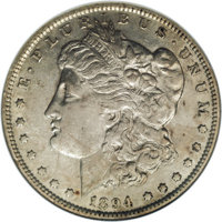 1894 $1 AU50 NGC. About half of the luster is still present, although it is somewhat cloudy, with a light layer of gray-...