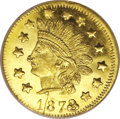 California Fractional Gold: , 1873/2 50C Indian Round 50 Cents, BG-1050, Low R.6, MS66 ProoflikeNGC. This is the single finest graded example of BG-1050...