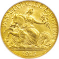 Commemorative Gold: , 1915-S $2 1/2 Panama-Pacific Quarter Eagle MS64 NGC. Thisyellow-gold beauty benefits from clean fields and meticulouslyim...