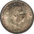 Coins of Hawaii: , 1883 25C Hawaii Quarter MS66 PCGS. Breen-8033. Repunched first 8.Mintage totals for the Hawaiian silver coins included 250...