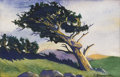Fine Art - Painting, American:Contemporary   (1950 to present)  , KARL HERMAN BAUMANN (American 1911-1984). Untitled,Landscape. Watercolor. 6-7/8 x 11 inches (17.4 x 27.9 cm)sight. Sig...