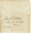 "Autographs:Military Figures, U.S. General John C. Caldwell Signature on a 5.5"" x 5.75"" sheet with added ""Brig. Gen. U.S. Vols / Maine / May 8, 1865""...."