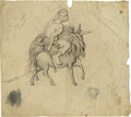 Military & Patriotic:Civil War, Original Pencil and Ink Sketch of a Slave on the back of a donkey carrying a load of tobacco leaves. The barefoot male slave...