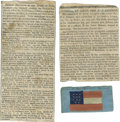 "Military & Patriotic:Civil War, C.S.A. General ""Stonewall"" Jackson Funeral Memorabilia in 1863 consisting of three items: a small Confederate silk flag of 1... (Total: 3 )"