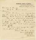 "Autographs:Military Figures, George Washington Custis Lee War-Dated Autograph Letter Signed toGeneral John Winder at 'Castle Thunder' ""G.W.C. Lee"". ..."