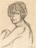 Texas:Early Texas Art - Modernists, BILL BOMAR (1919-1990). Portrait of Mary Daggett. Charcoal.24in. x 18in.. Signed lower right. Provenance:. Acquired f...