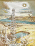Texas:Early Texas Art - Regionalists, AARON BOHROD (1907-1992). Oil Derrick. Gouache. 18in. x14in.. Signed lower right. Aaron Bohrod is best known for his ...