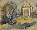 Texas:Early Texas Art - Modernists, VERONICA HELFENSTELLER (1910-1964). Untitled Crypt, 1940s. Gouache.9in. x 11in.. Signed lower right. Southwestern artists...