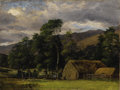 Fine Art - Painting, European:Antique  (Pre 1900), Attributed to JOHN CONSTABLE, R.A. (English 1776 - 1837). View of Langham, Suffolk. Oil on canvas. 7-3/4 x 10 inches. ...