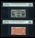 Fractional Currency:Third Issue, Fr. 1274SP/1273SP 15c Third Issue Narrow Margin Pair PMG About Uncirculated 55 EPQ and Choice Uncirculated 64.... (Total: 2 notes)